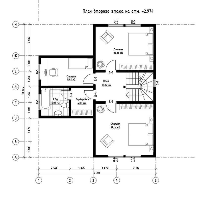 План второго этажа дома из СИП панелей  Мюнхен