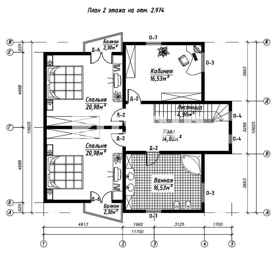 План второго этажа дома из СИП панелей  Простор