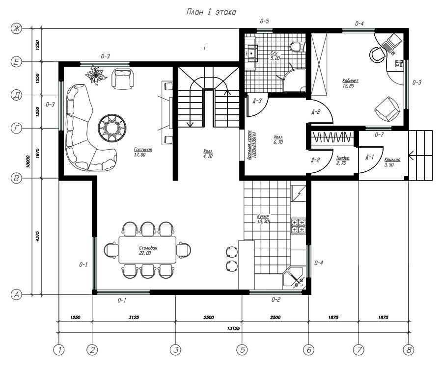 План первого этажа дома из СИП панелей Расен