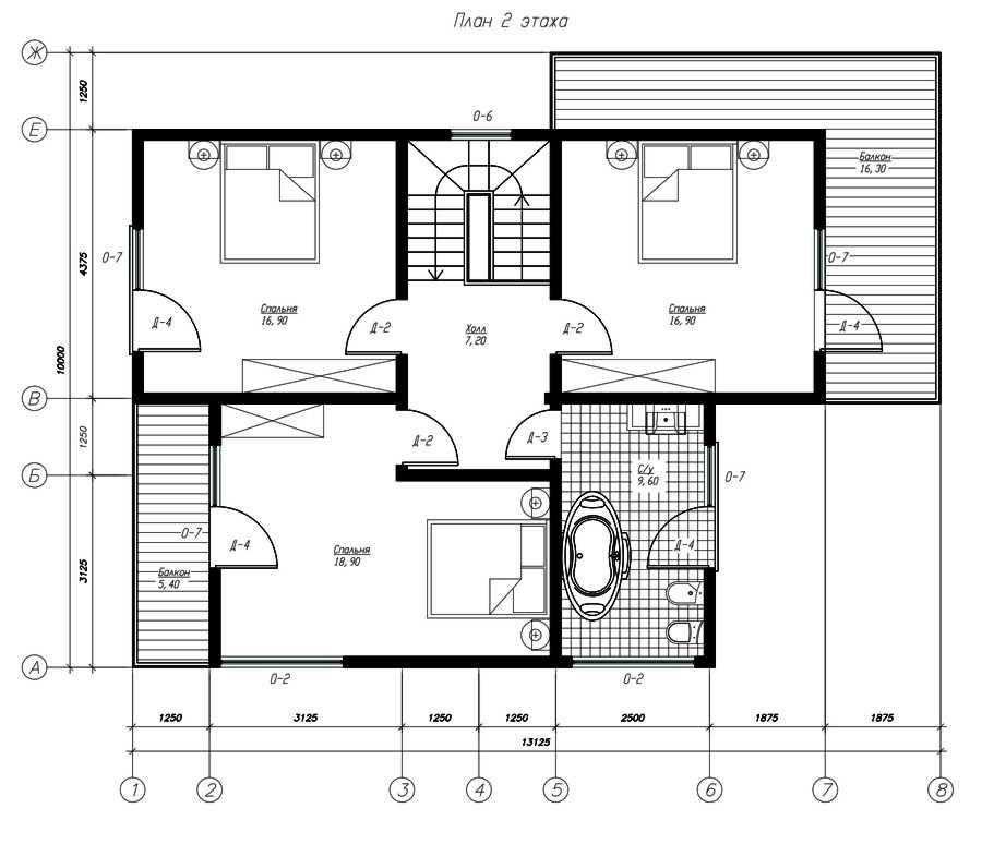 План второго этажа дома из СИП панелей  Расен