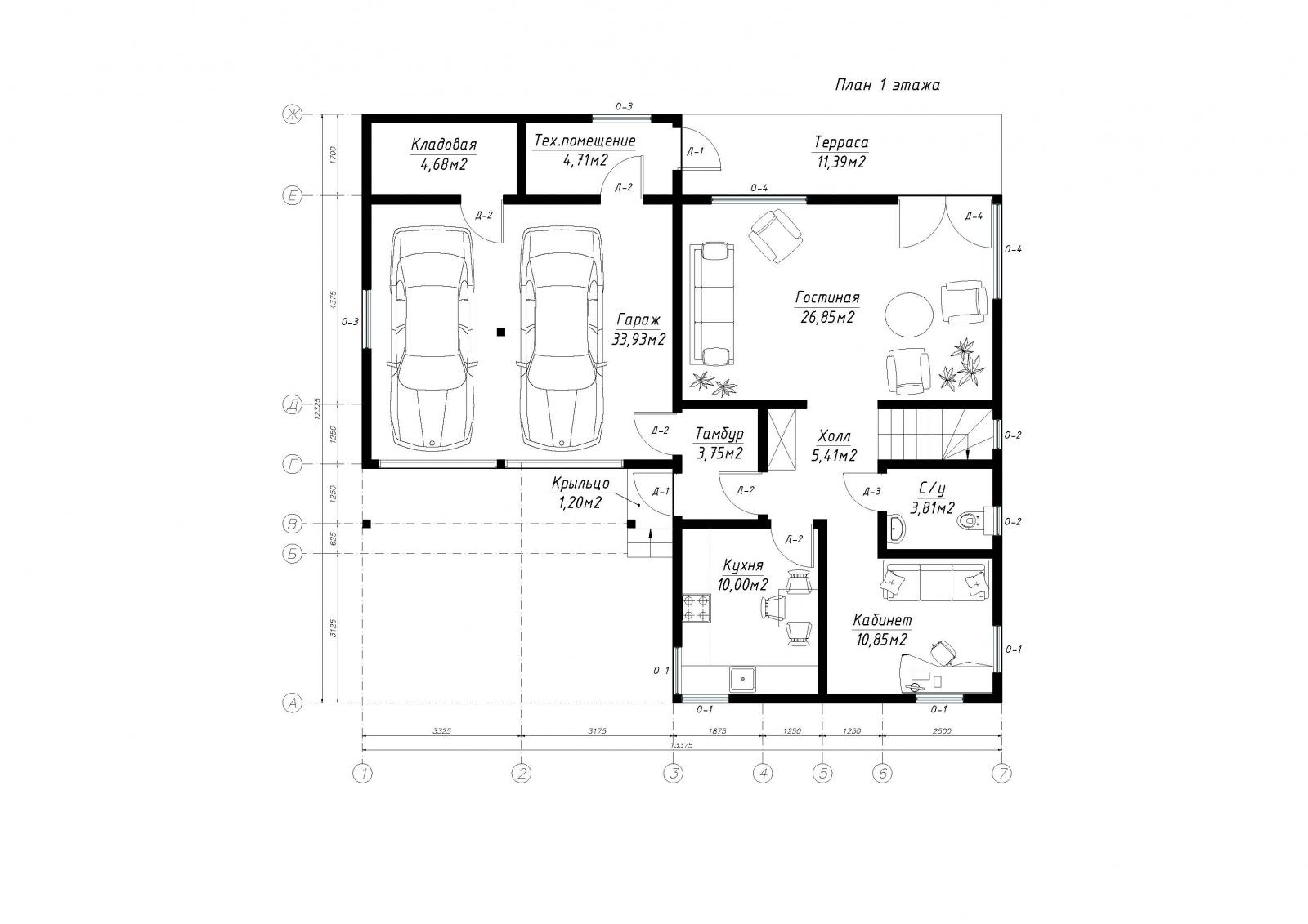 План первого этажа дома из СИП панелей Сальвадор
