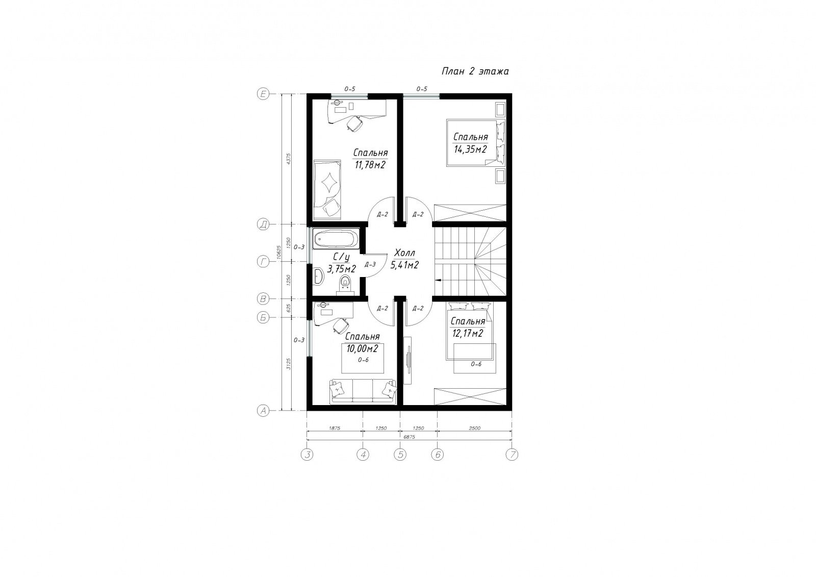 План второго этажа дома из СИП панелей  Сальвадор