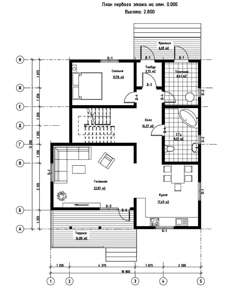 План первого этажа дома из СИП панелей Сан-Франциско