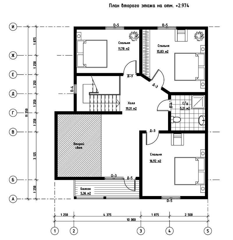 План второго этажа дома из СИП панелей  Сан-Франциско