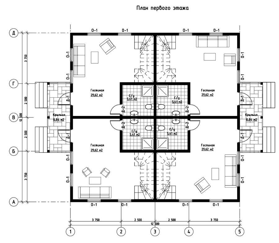 План первого этажа дома из СИП панелей Сан-Тропез