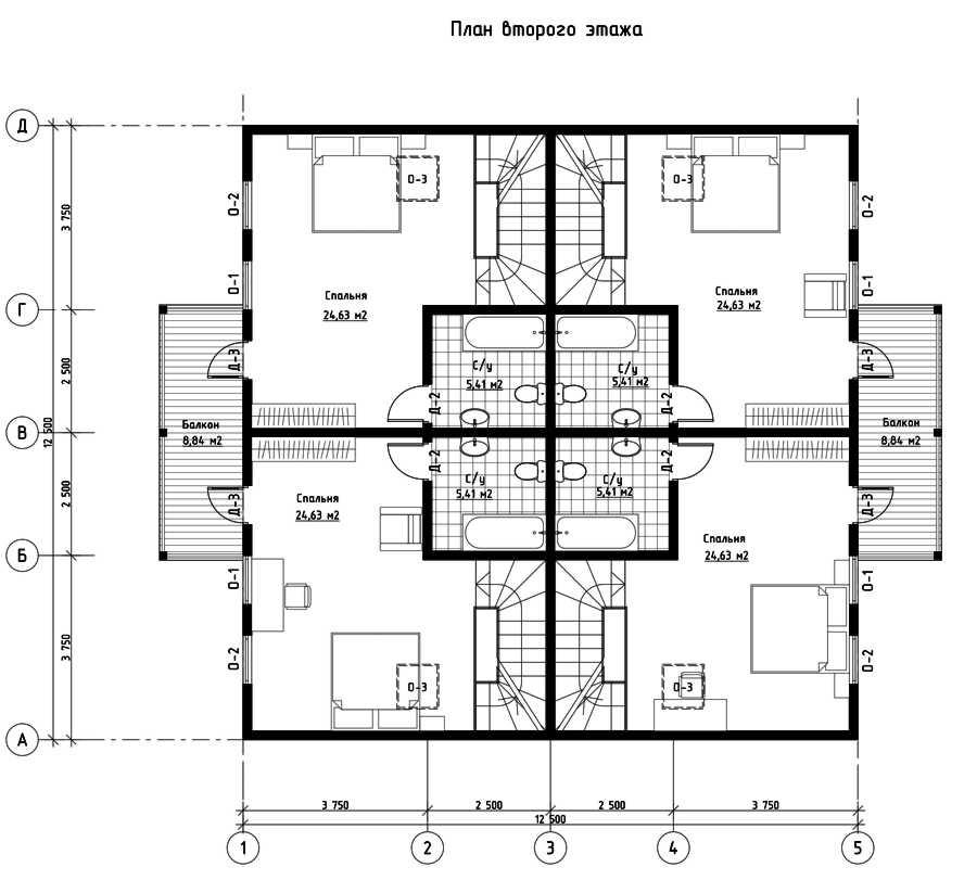 План второго этажа дома из СИП панелей  Сан-Тропез