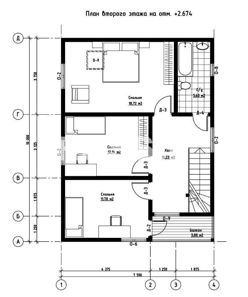 План второго этажа дома из СИП панелей  Солнечный