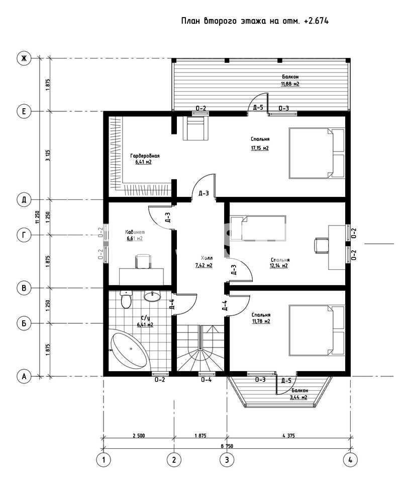 План второго этажа дома из СИП панелей  Виндзор