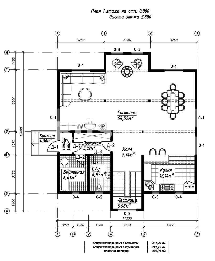 План первого этажа дома из СИП панелей Висконсин