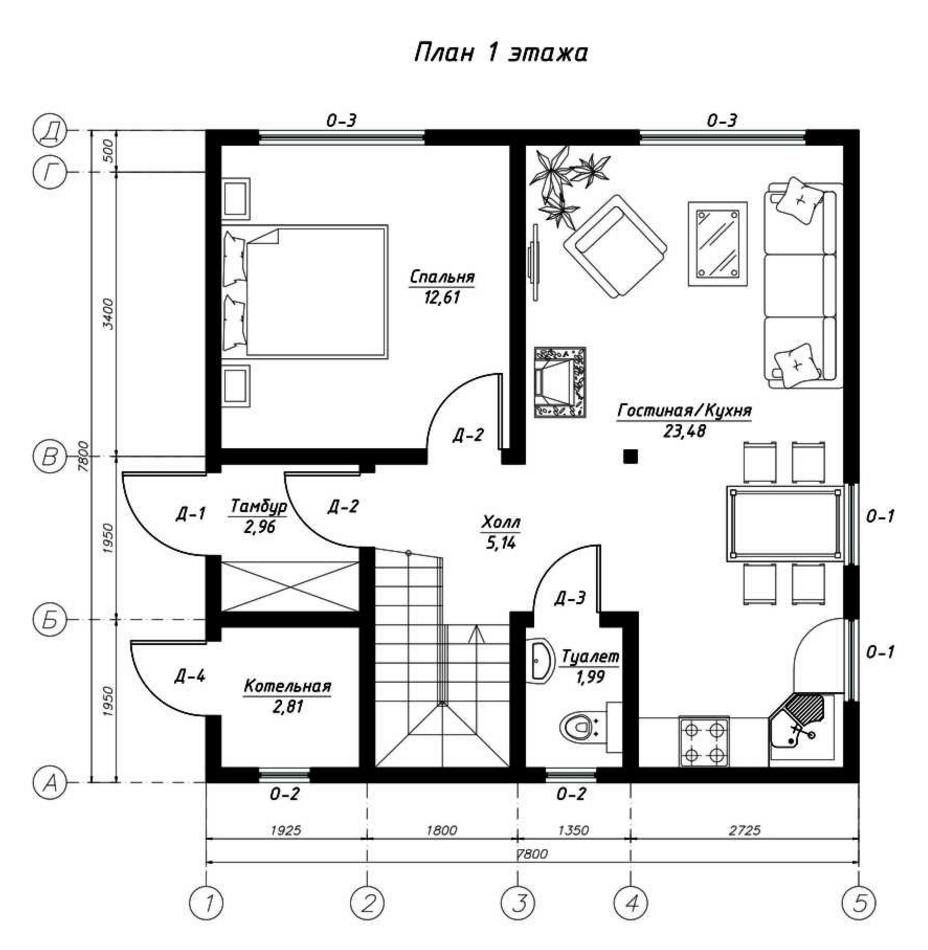 План первого этажа дома из СИП панелей Пальмира