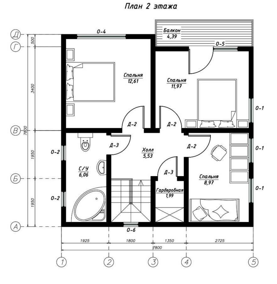 План второго этажа дома из СИП панелей  Пальмира