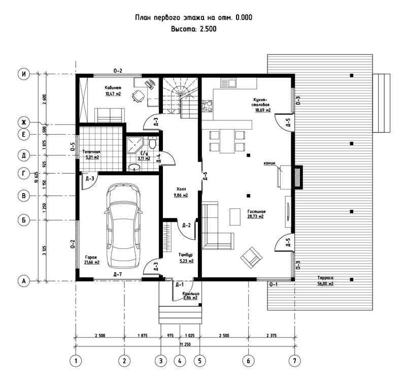 План первого этажа дома из СИП панелей Адамант