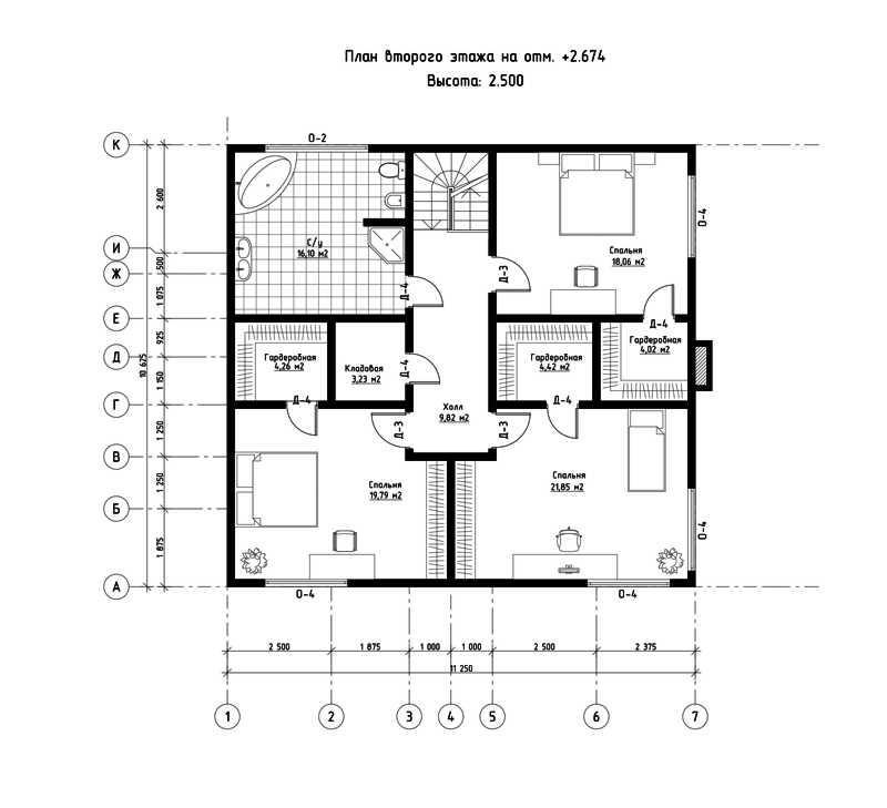 План второго этажа дома из СИП панелей  Адамант