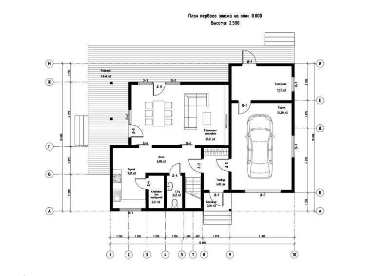 План первого этажа дома из СИП панелей Олимпия