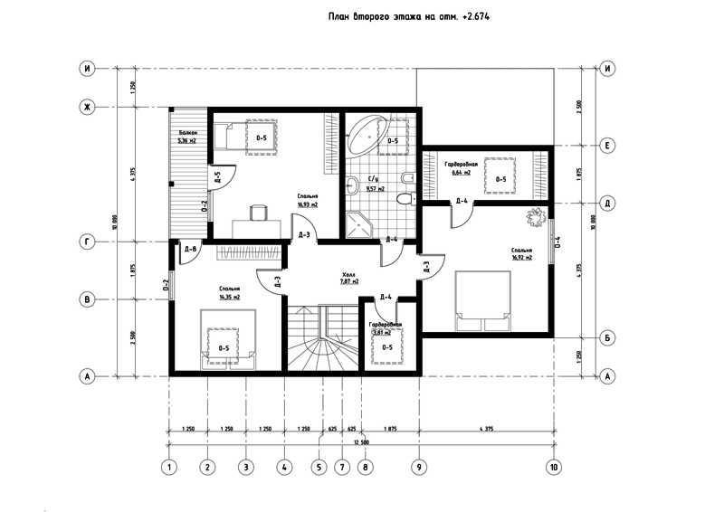 План второго этажа дома из СИП панелей  Олимпия