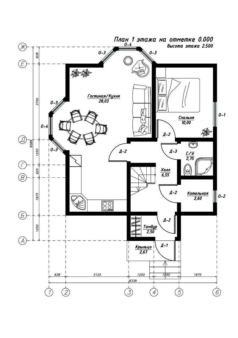 План первого этажа дома из СИП панелей Свен