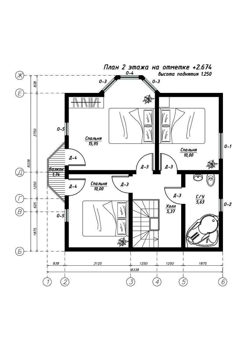План второго этажа дома из СИП панелей  Свен