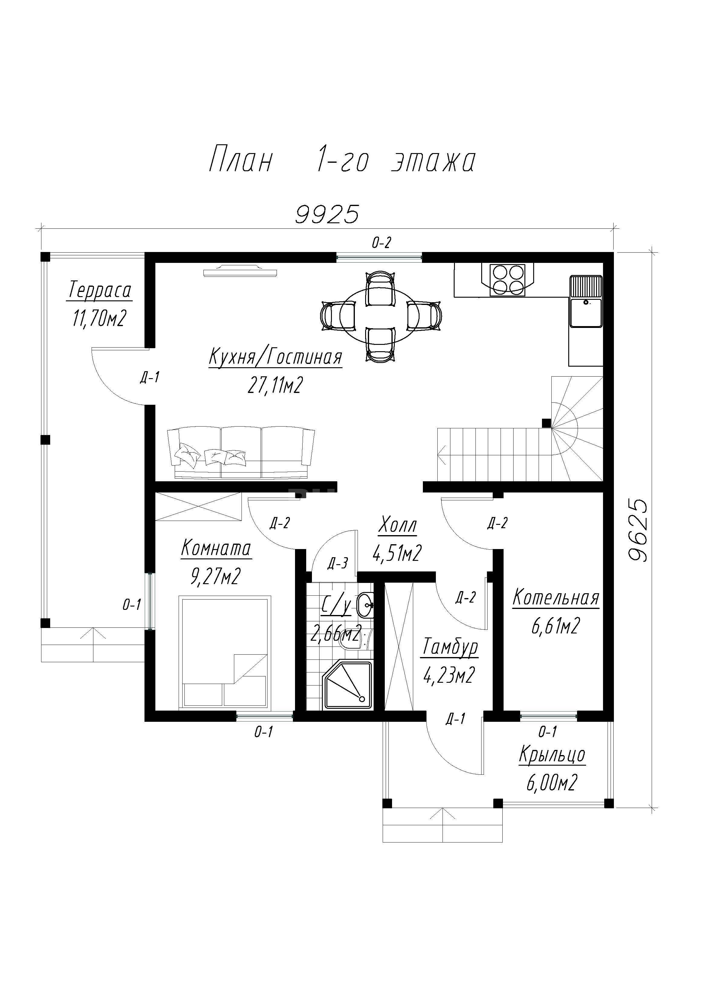 План первого этажа дома из СИП панелей Адемар