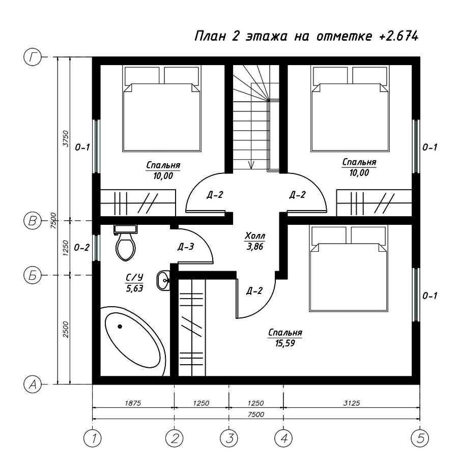 План второго этажа дома из СИП панелей  Лёвенбург