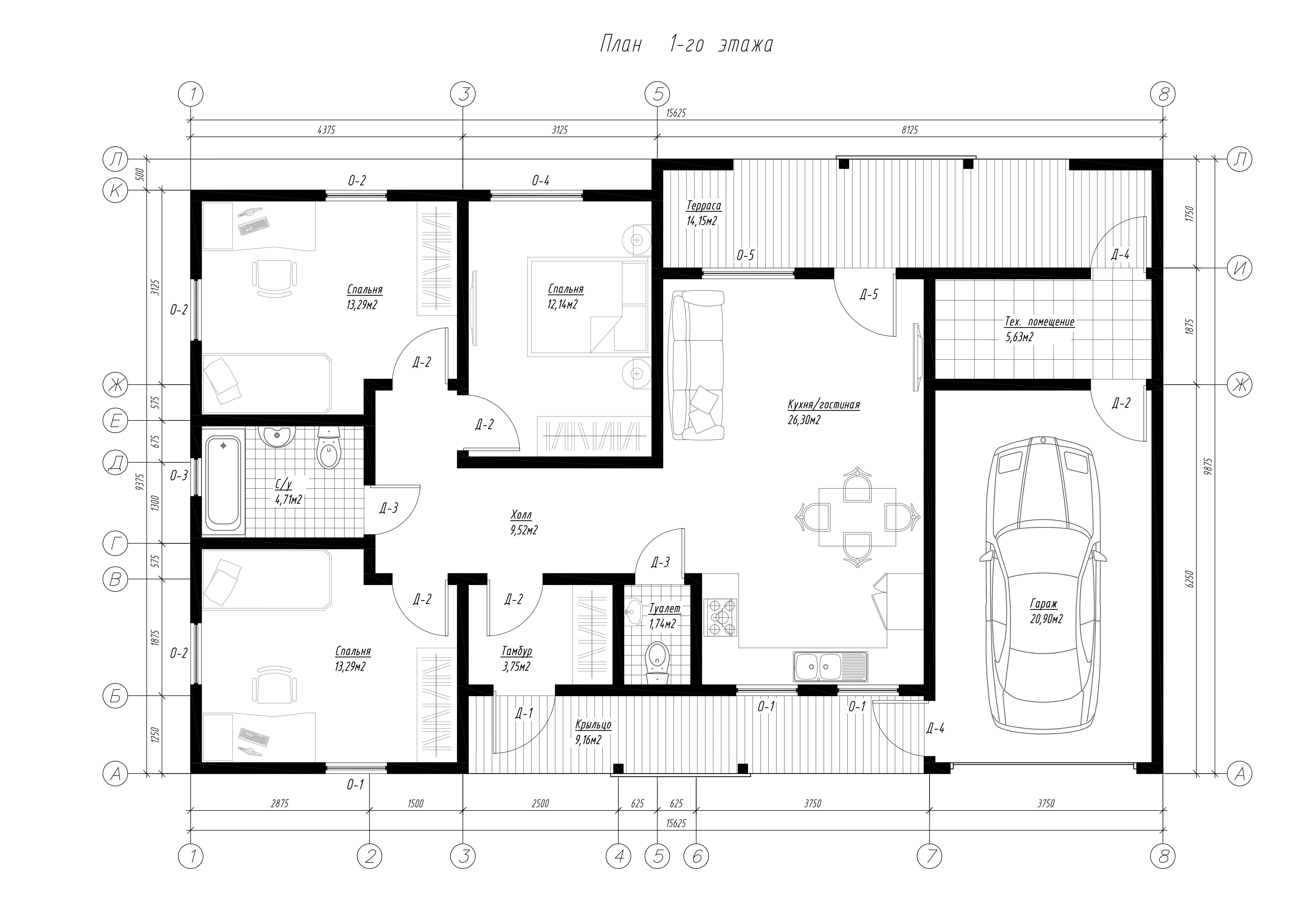 План первого этажа дома из СИП панелей Порто