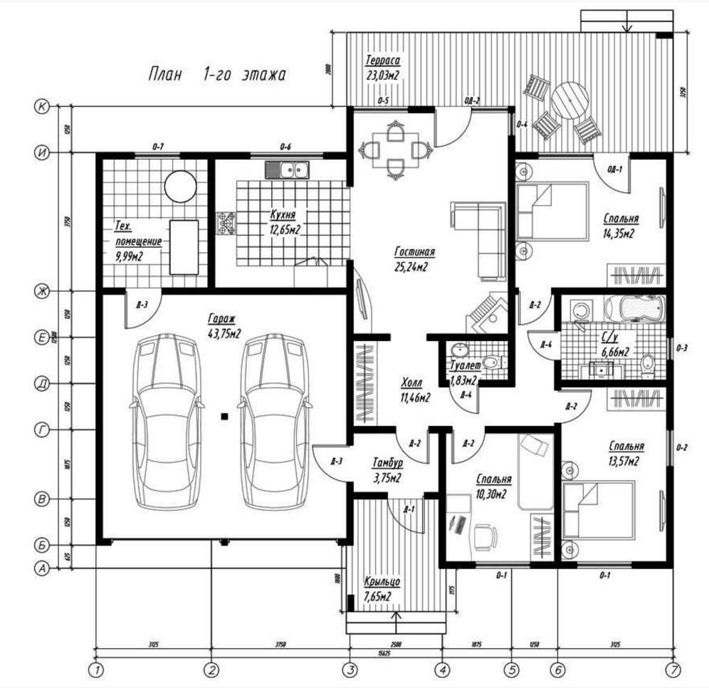 План первого этажа дома из СИП панелей Дублин