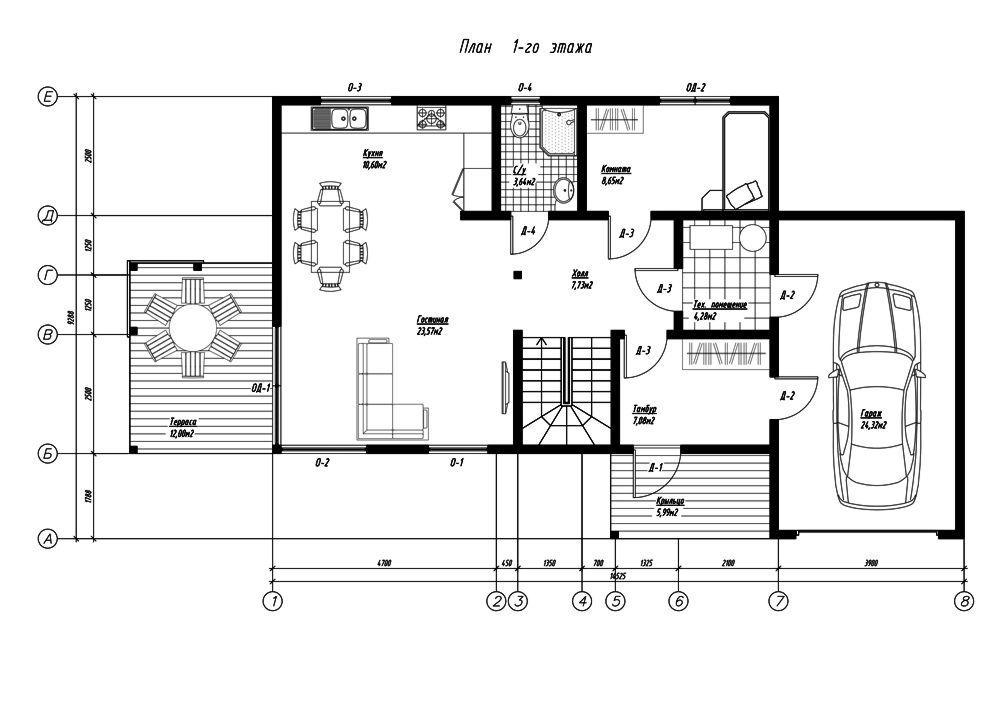 План первого этажа дома из СИП панелей Честер