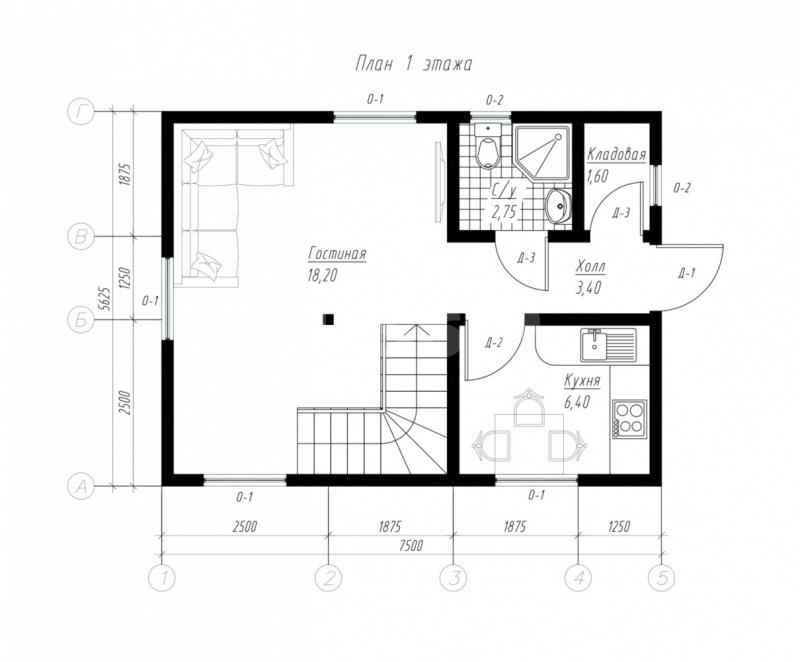План первого этажа дома из СИП панелей Бюджетный