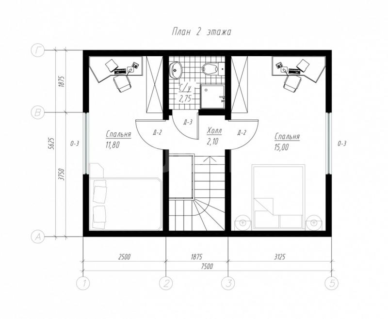 План второго этажа дома из СИП панелей  Бюджетный