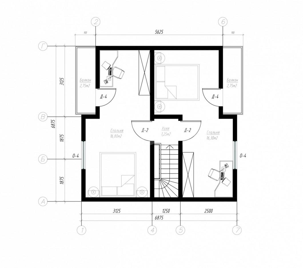 План второго этажа дома из СИП панелей  Вустер