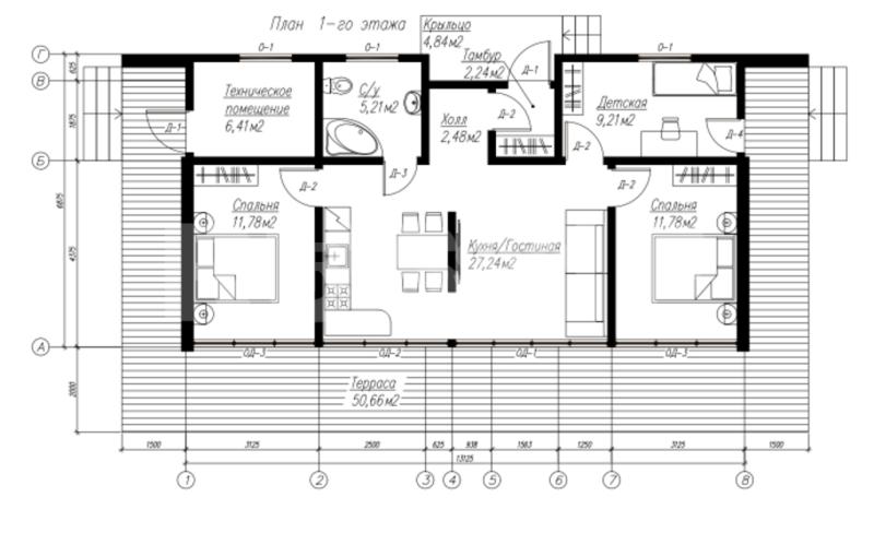 План первого этажа дома из СИП панелей Наутилус