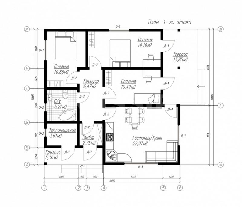 План первого этажа дома из СИП панелей Тарас
