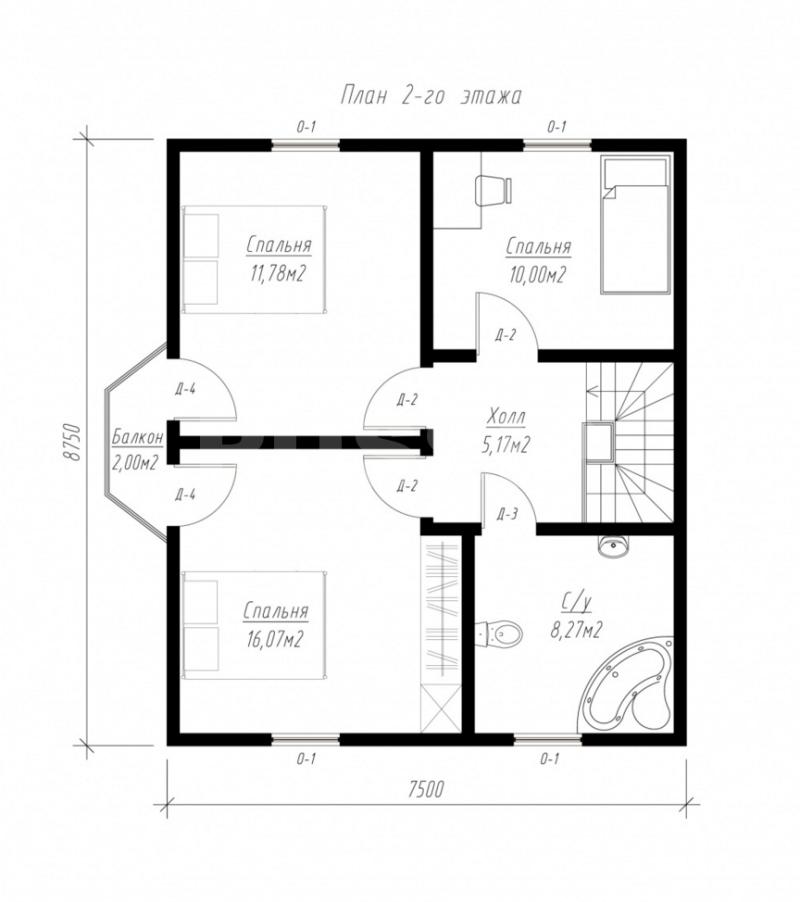 План второго этажа дома из СИП панелей  Пион