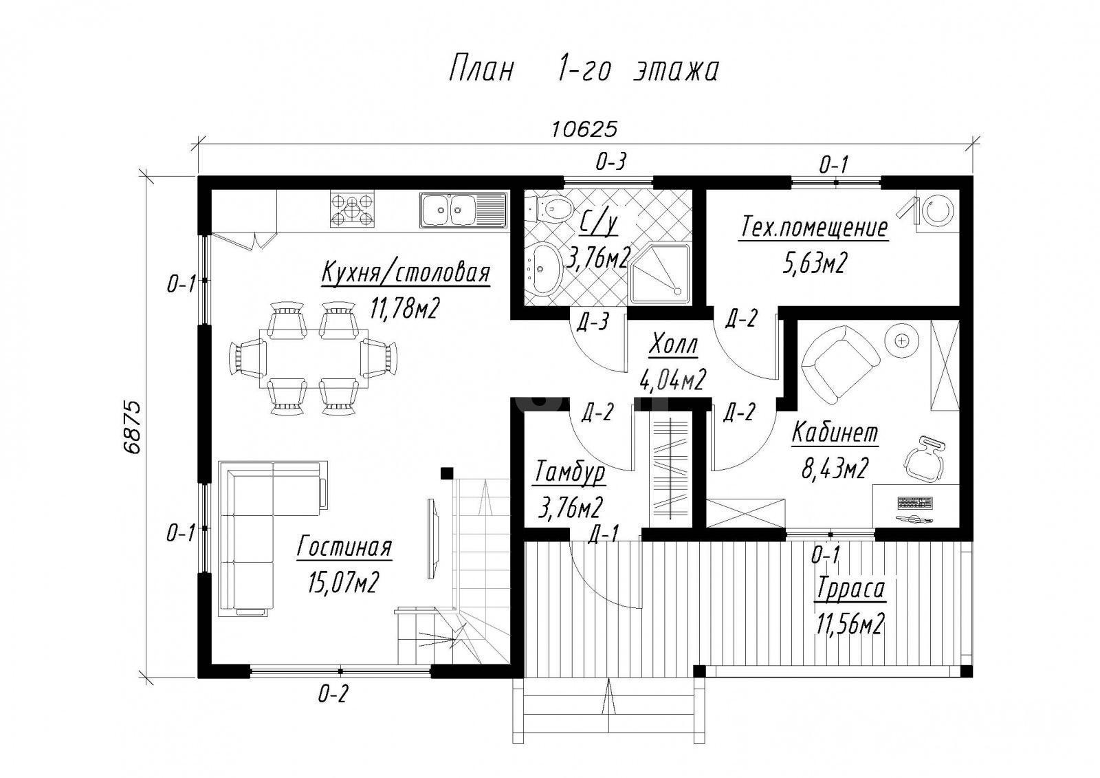 План первого этажа дома из СИП панелей Русская сказка