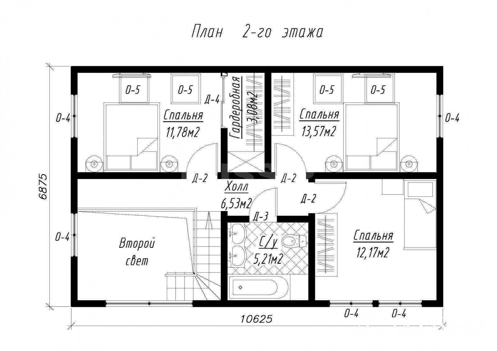 План второго этажа дома из СИП панелей  Русская сказка
