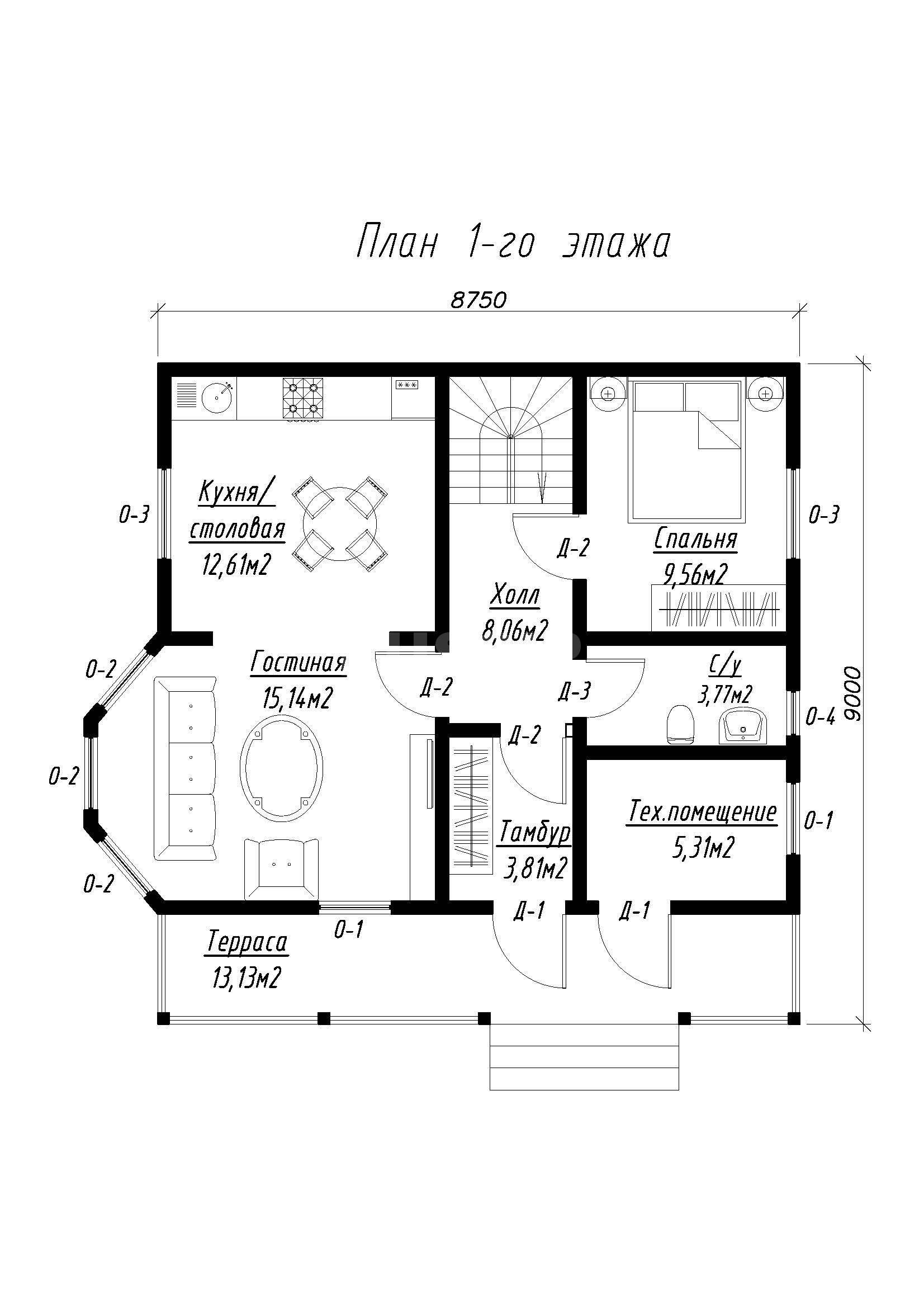 План первого этажа дома из СИП панелей Филипп