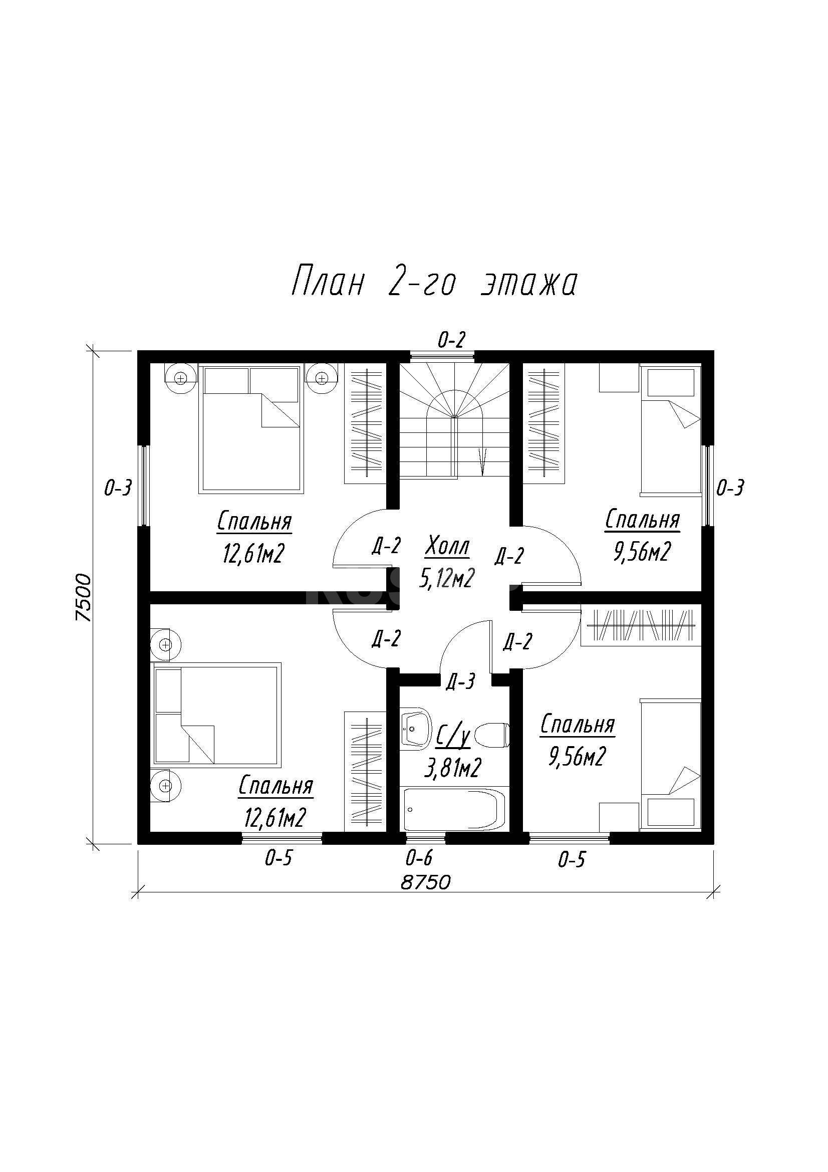 План второго этажа дома из СИП панелей  Филипп