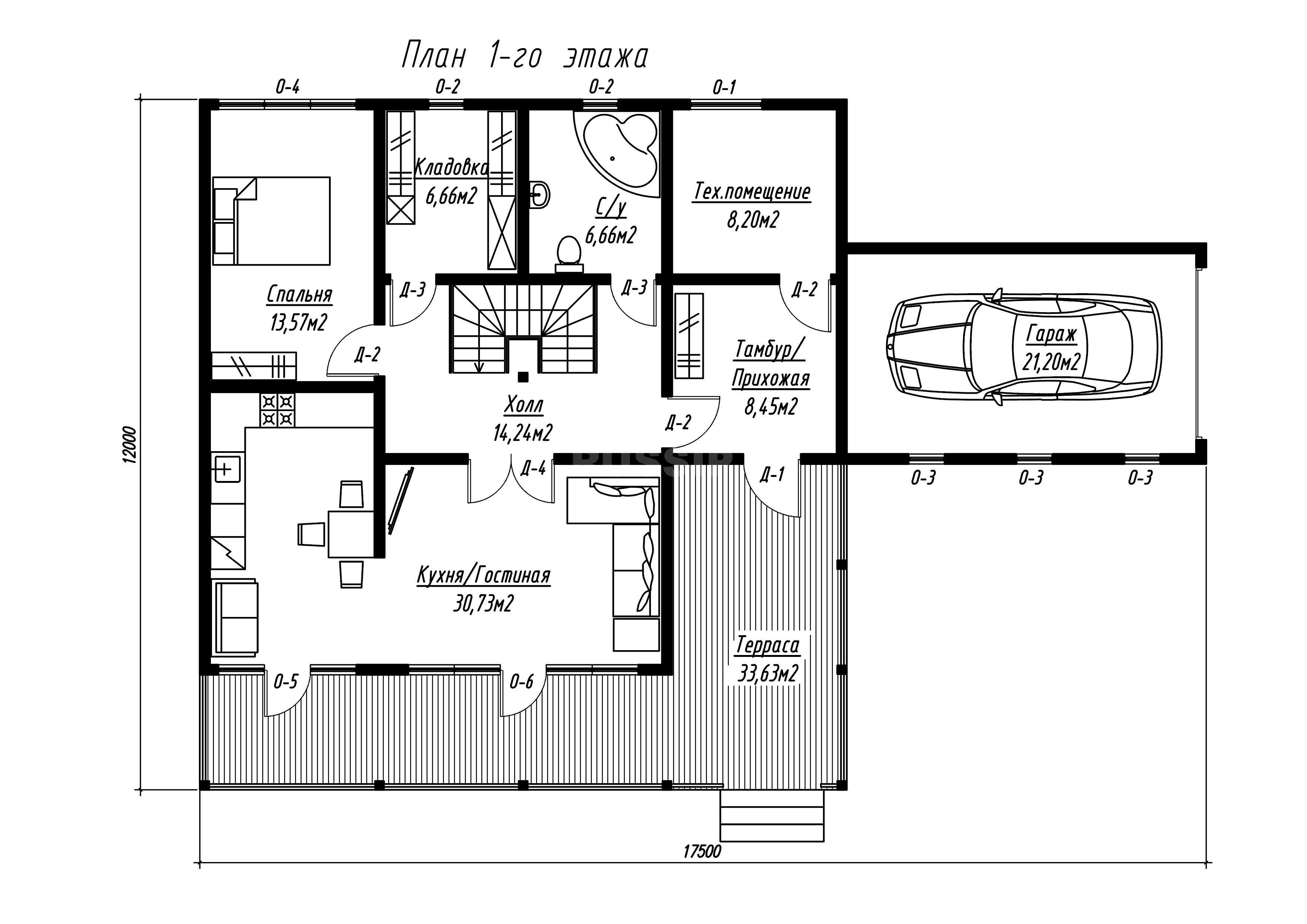 План первого этажа дома из СИП панелей Грэй