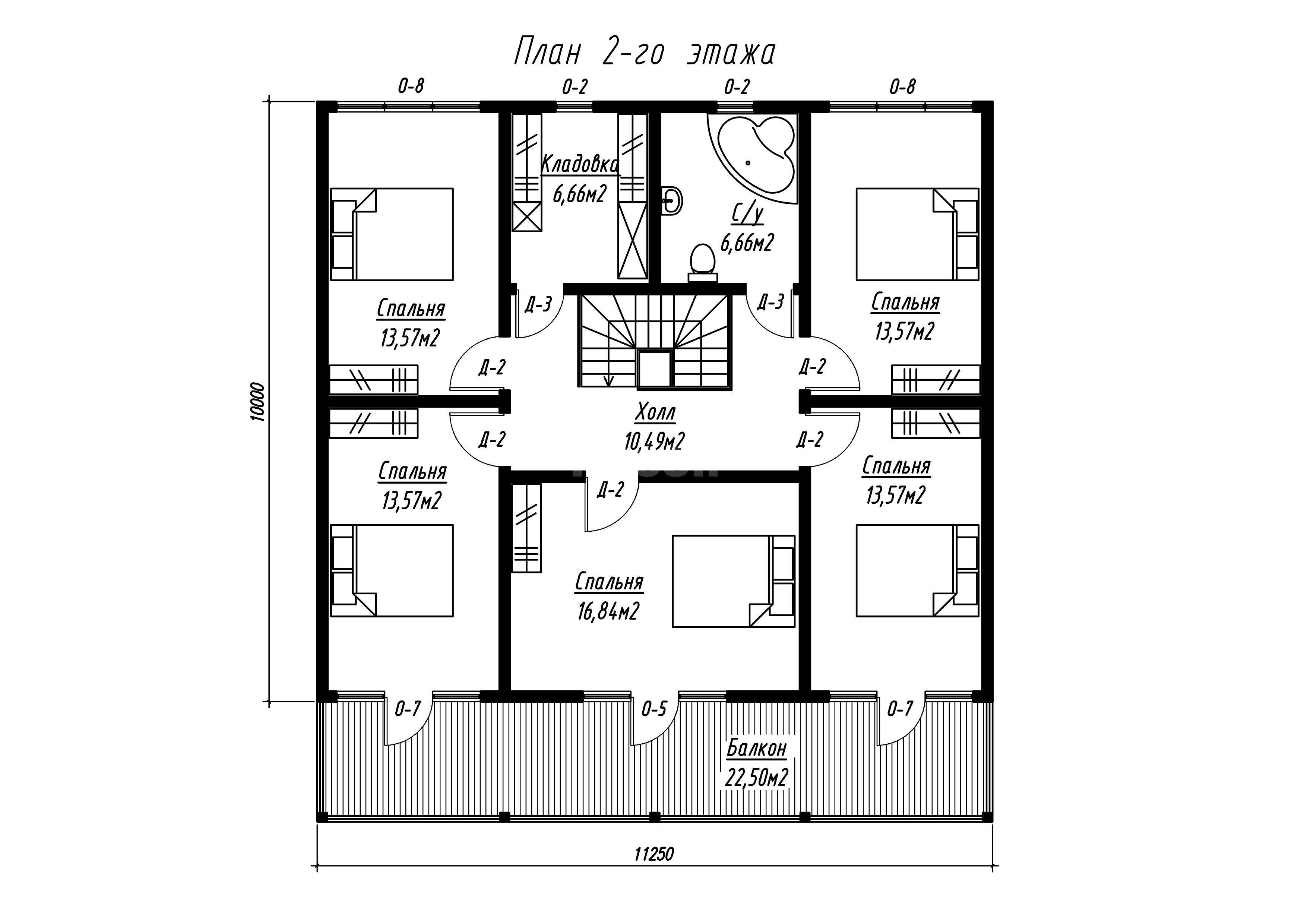 План второго этажа дома из СИП панелей  Грэй